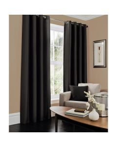 Faux Silk Curtains - black