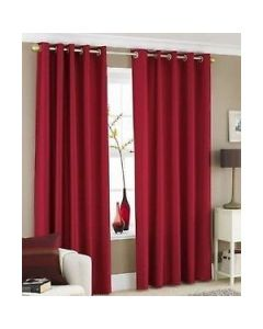 Faux Silk Curtains - red